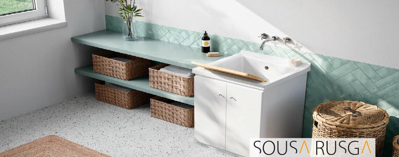 Imagine uma lavandaria simples e elegante…